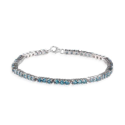 Signity Paraiba Topaz (Rnd) Bracelet in Platinum Overlay Sterling Silver (Size 8) 7.000 Ct.
