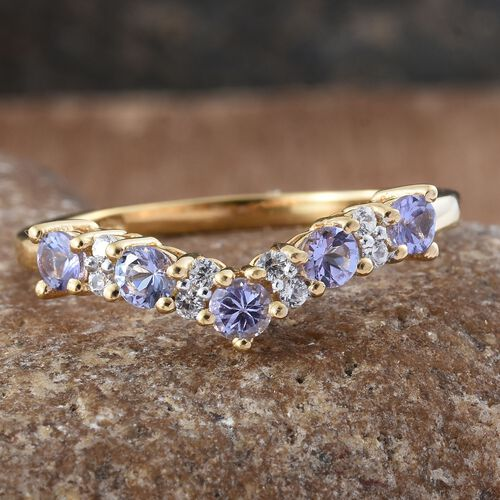 Tanzanite, Natural Cambodian Zircon 1.05 Ct Stacking Wishbone Ring in 14K Gold Overlay Sterling Silver