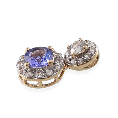 9K Y Gold Tanzanite (Rnd 0.90 Ct), White Sapphire Pendant 1.200 Ct.