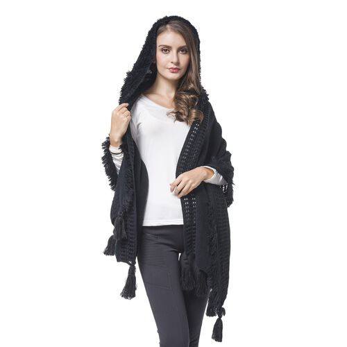 Black Colour Knitted Hoodie Kimono with Tassels (Size 190X60 Cm)
