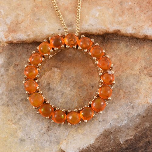 Orange Ethiopian Opal (Rnd) Circle of Life Pendant With Chain in 14K Gold Overlay Sterling Silver 1.500 Ct.