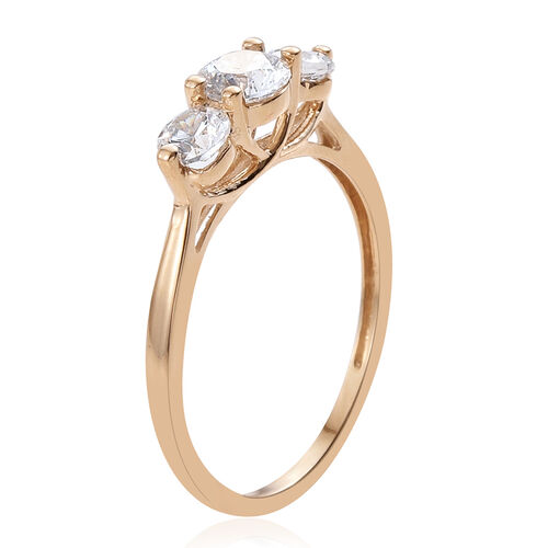 J Francis - 9K Yellow Gold (Rnd) 3 Stone Ring Made with SWAROVSKI ZIRCONIA