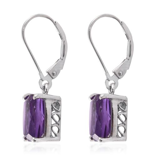 Amethyst (Cush) Lever Back Earrings in Platinum Overlay Sterling Silver 6.000 Ct.