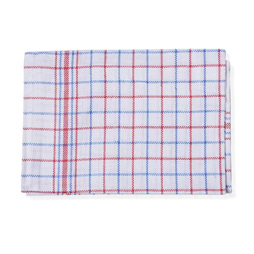 Set of 12 - 100% Cotton Red and Blue Colour Checks Pattern White Colour Kitchen Towel (Size 70x50 Cm)