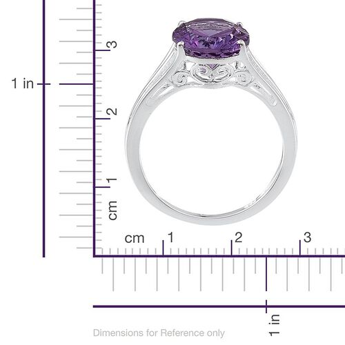 Brazilian Amethyst (Ovl) Solitaire Ring in Sterling Silver 2.500 Ct.