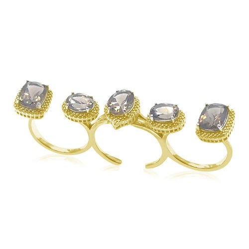 Brazilian Smoky Quartz (Ovl 1.70 Ct) 3 Finger Ring in Rhodium Plated Sterling Silver 8.400 Ct.