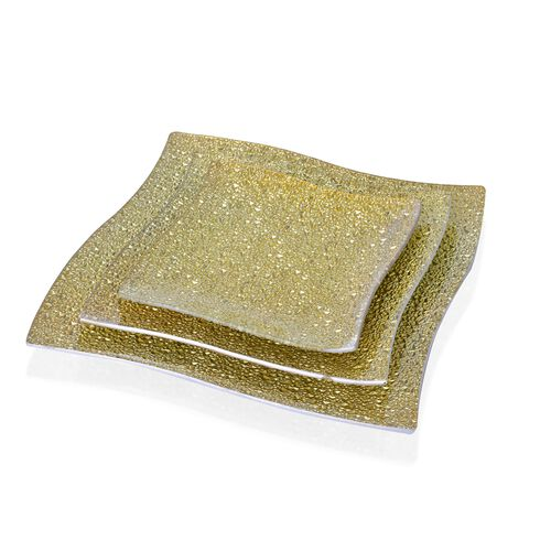 Set of 3 - Golden Colour Square Shape Glass Snack Plates (Size 25X25, 20X20 and 15X15 Cm)