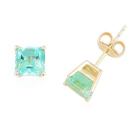 9K Yellow Gold 1.50 Ct AA Boyaca Colombian Emerald Solitaire Stud Earrings (with Push Back)
