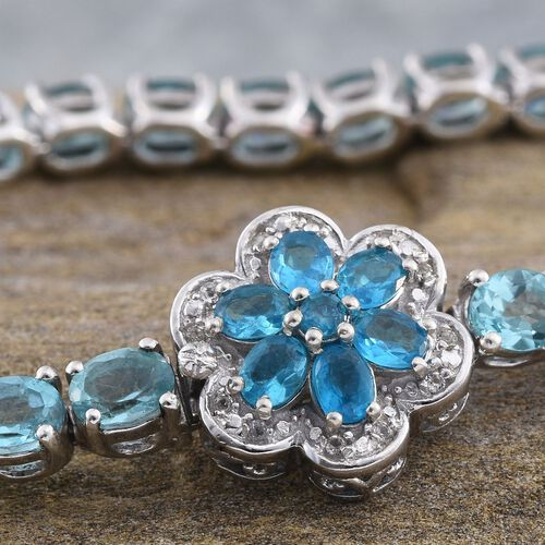 Paraibe Apatite (Ovl), Malgache Neon Apatite and White Topaz Floral Bracelet (Size 7.5) in Platinum Overlay Sterling Silver 13.250 Ct.
