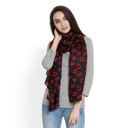100% Silk Red Colour Lips HD Printed Black Colour Scarf (Size 180x100 Cm)