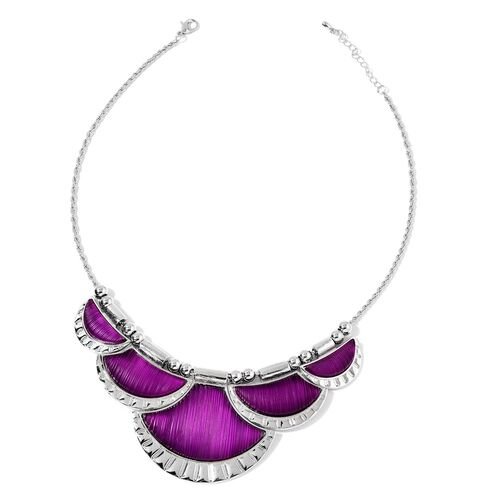 Simulated Purple Diamond Necklace (Size 20 with 2 inch Extender) and Earrings (with Push Back) in Silver Tone with Stainless Steel