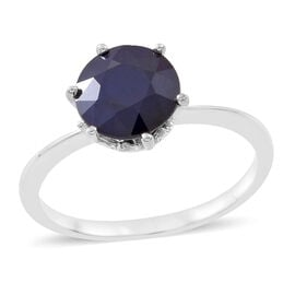 Rare Size Kanchanaburi Blue Sapphire (Rnd 9mm) Solitaire Ring in Rhodium Plated Sterling Silver 3.350 Ct.