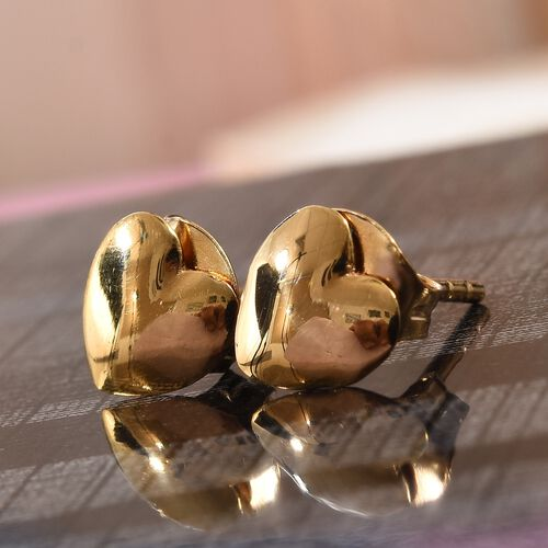Silver Heart Stud Earrings (with Push Back) in Gold Overlay