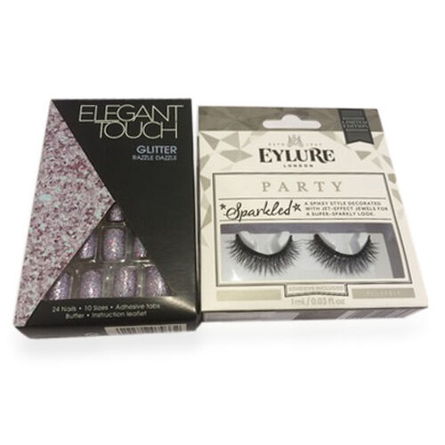 (Option 3) Elegant Touch Glitter Nails Razzle Dazzle with Eylure Christmas Sparkle Lash Sparkled