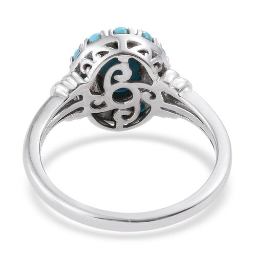 Arizona Sleeping Beauty Turquoise (Ovl 1.00 Ct) Floral Ring in Platinum Overlay Sterling Silver 1.500 Ct.