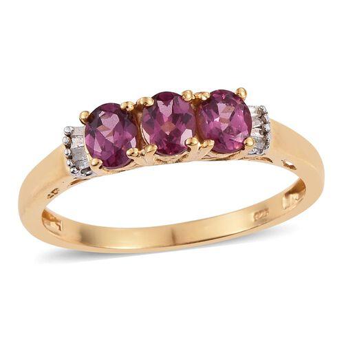 Rhodolite Garnet (Ovl), Diamond Ring in 14K Gold Overlay Sterling Silver 1.250 Ct.