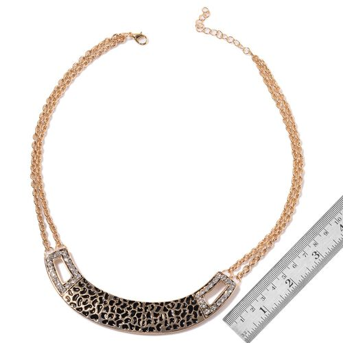 Black Enameled White Austrian Crystal Necklace (Size 20 with Extender) in Gold Tone
