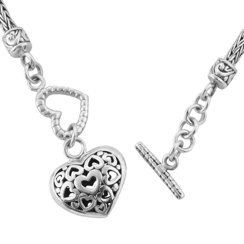 Royal Bali Collection Sterling Silver Tulang Naga Bracelet (Size 6.5) with Heart Charm, Silver wt 8.58 Gms.