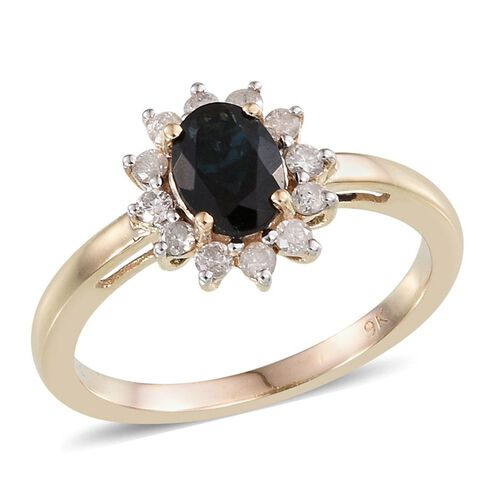 9K Y Gold AAA Monte Belo Indicolite (Ovl 0.75 Ct), Diamond Ring 1.000 Ct.