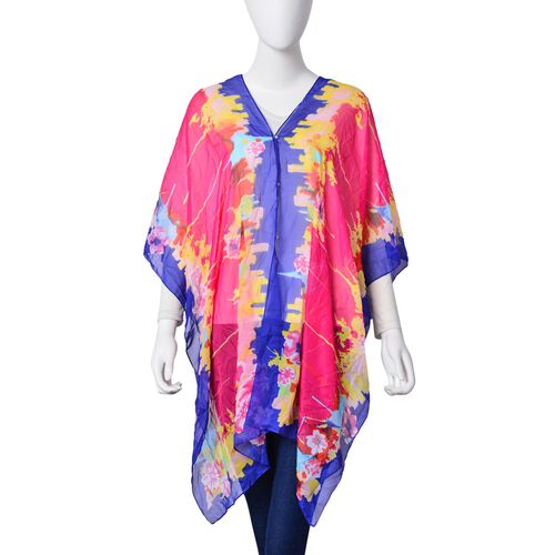 Pink, Yellow and Blue Colour Bloom Floral and Leaves Pattern Poncho (Free Size)
