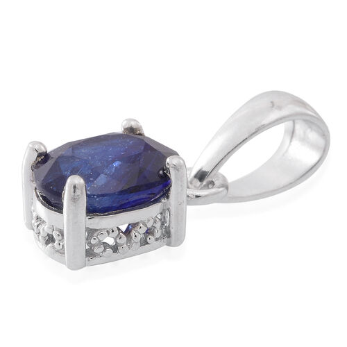 Enhanched Sapphire (Ovl) Solitaire Pendant in Rhodium Plated Sterling Silver 1.750 Ct.