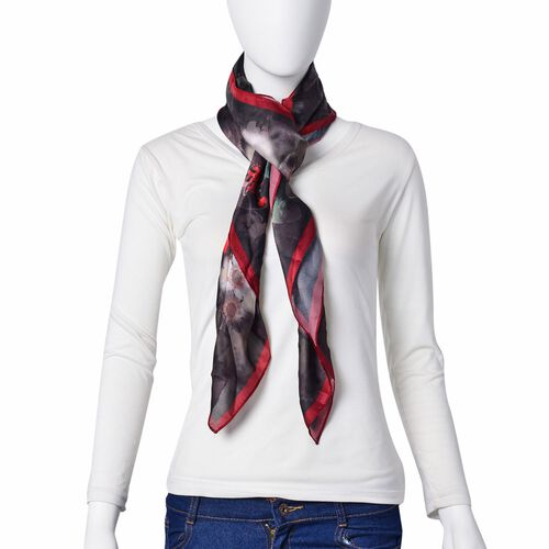 Multi Colour Bloom Flower Pattern Black and Grey Colour Scarf (Size 110x110 Cm)