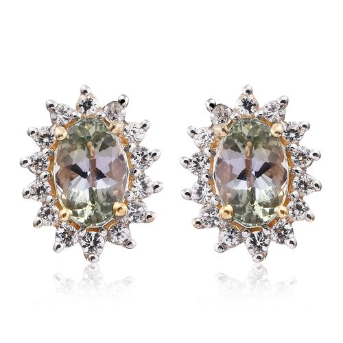 9K Yellow Gold 1 Carat AA Green Tanzanite Halo Stud Earrings (with Push Back) with Natural Cambodian Zircon