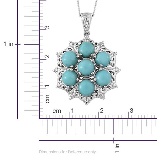 Sonoran Turquoise (Rnd) 7 Stone Pendant With Chain in Platinum Overlay Sterling Silver 5.250 Ct.