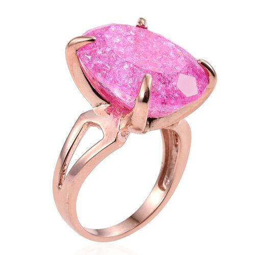 Hot Pink Crackled Quartz (Ovl) Ring in Rose Gold Overlay Sterling Silver 16.000 Ct.