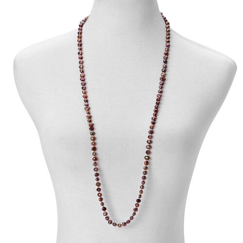 Fresh Water Chocolate Pearl Necklace (Size 36) in Silver Tone with Magnetic Lock