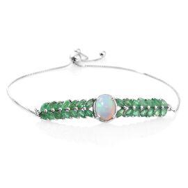 Ethiopian Welo Opal (Ovl 1.00 Ct), Kagem Zambian Emerald Adjustable Bracelet (Size 6.5 to 8) in Platinum Overlay Sterling Silver 3.000 Ct.