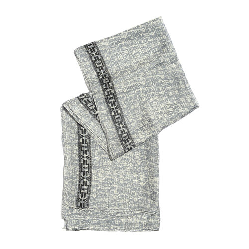 100% Tabby Silk Grey, White and Black Colour Handscreen Printed Scarf (Size 180x100 Cm)