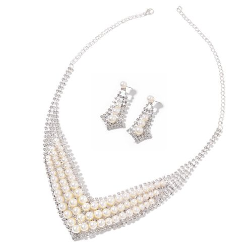 Designer Inspired- AAA White Austrian Crystal and Simulated White Pearl Necklace (Size 22) and Earrings (with Push Back) in Silver Plating
