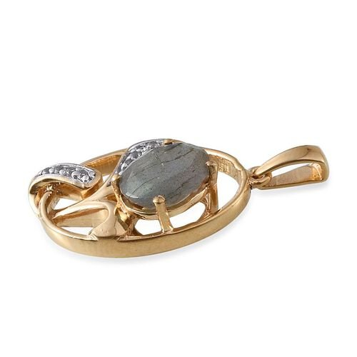 Labradorite (Ovl 3.50 Ct), White Topaz Pendant in 14K Gold Overlay Sterling Silver 3.750 Ct.