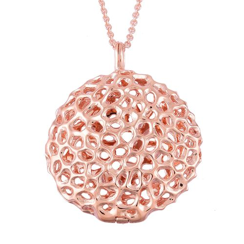 RACHEL GALLEY Rose Gold Overlay Sterling Silver Disc Locket Pendant with Chain (Size 30), Silver wt 19.87 Gms.