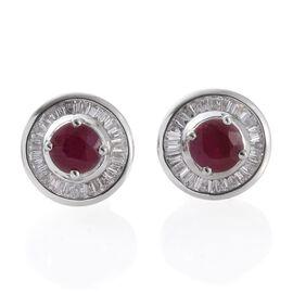 RHAPSODY 950 Platinum Burmese Ruby (Rnd), Diamond Stud Earrings (with Screw Back) 1.400 Ct.