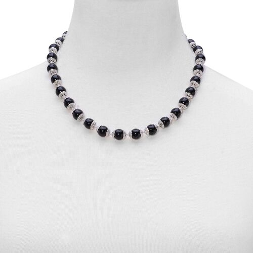 Black Agate Necklace (Size 18 with 2 inch Extender) in Silver Tone 151.000 Ct.