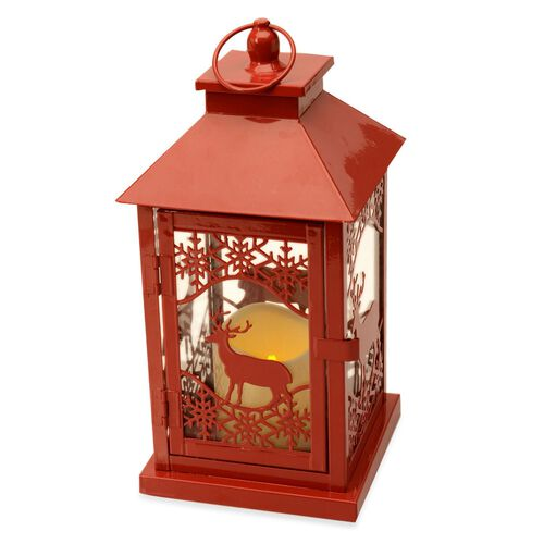 Reindeer and Snowflake Pattern Red Colour Lantern with Removable LED Candle (Size 28.5x14.5x14.5 Cm)
