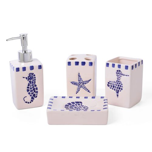 White and Blue Colour Sea Life Pattern 1 Toothbrush Holder (Size 10x7 Cm), 1 Tumbler (Size 10x7 Cm), 1 Soap Dish (Size 19x9 Cm) and 1 Lotion Dispenser (Size 18x6 Cm)