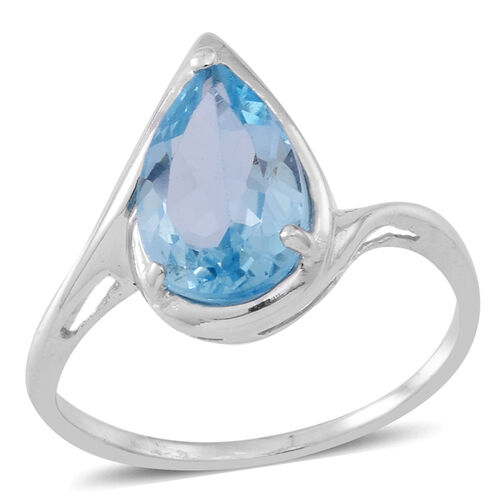 Sky Blue Topaz (Pear) Solitaire Ring in Rhodium Plated Sterling Silver 3.500 Ct.