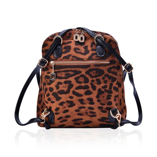 Leopard Pattern Chocolate Colour Multi Function Back Pack with External Zipper Pocket and Adjustable and Removable Shoulder Strap (Size 32x27x10 Cm)