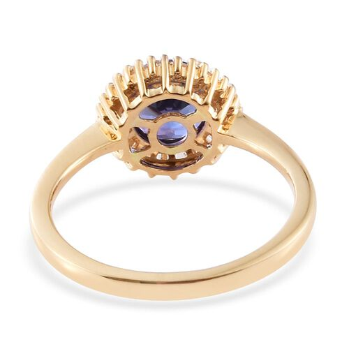 ILIANA 18K Y Gold AAA Tanzanite (Rnd 1.30 Ct), Diamond (SI/G-H) Ring 1.500 Ct.