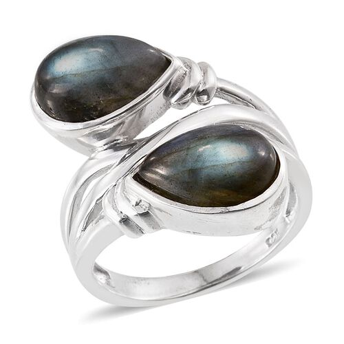 Labradorite (Pear) Crossover Ring in Platinum Overlay Sterling Silver 7.000 Ct.