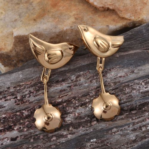 14K Gold Overlay Sterling Silver Birds Earrings (with Push Back), Silver wt 5.19 Gms.