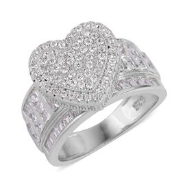 ELANZA AAA Simulated White Diamond Heart Ring in Rhodium Plated Sterling Silver, Silver wt 6.44 Gms.