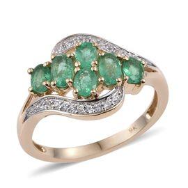 9K Y Gold Boyaca Colombian Emerald (Ovl), Natural Cambodian Zircon Ring 1.250 Ct.