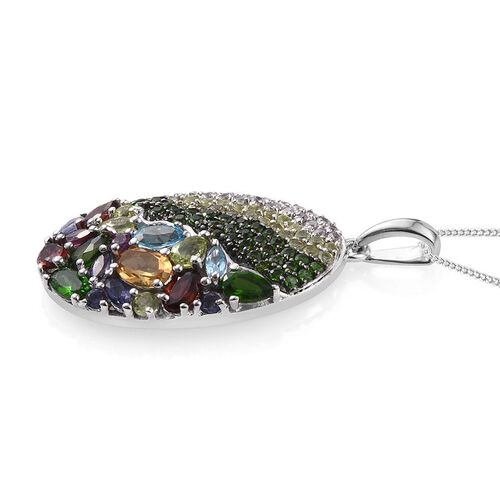 GP Citrine (Ovl), Mozambique Garnet, Russian Diopside, Electric Swiss Blue Topaz, Iolite, Hebei Peridot and Multi Gem Stones Pendant With Chain in Platinum Overlay Sterling Silver 4.000 Ct.