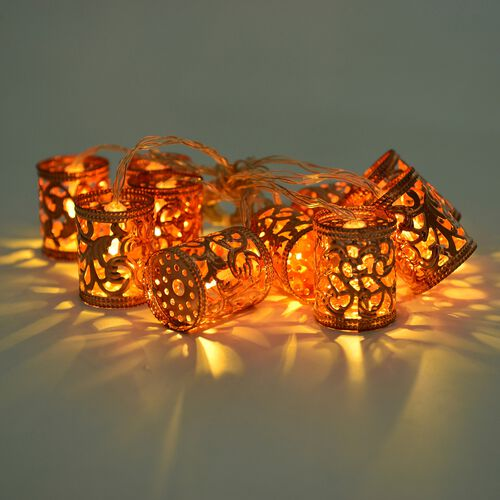 Set of 10 - Rose Colour Cylindrical Shape LED String Lights