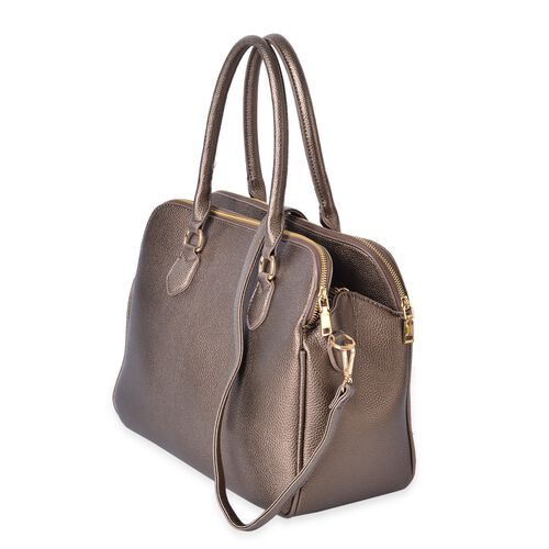 Bronze Colour Tote Bag with External Zipper Pocket and Removable Shoulder Strap (Size 36.5X26.5X19 Cm)