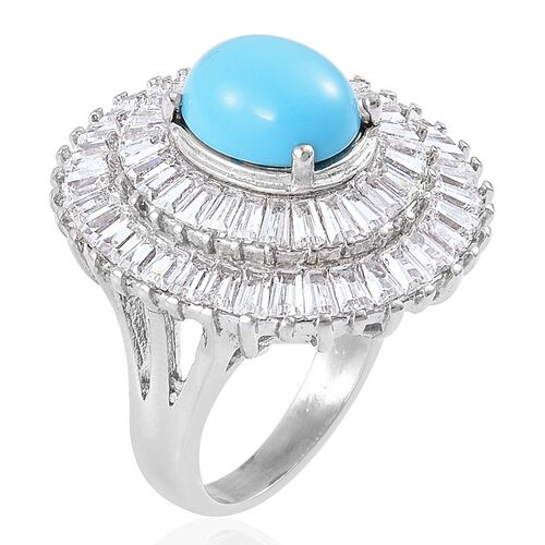 Blue Howlite and Simulated White Diamond Ballerina Ring in Stainless Steel